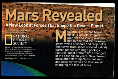 ⫸ 2001-2 February MARS REVEALED National Geographic Map Home School Poster Space