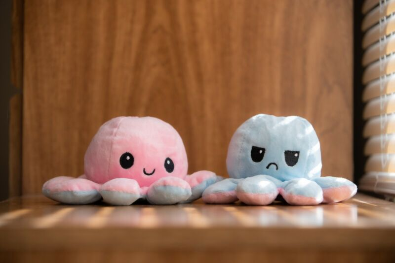 Happy/Sad Reversible Octopus Plush (pink/light blue) Ships in 1-3 Days!