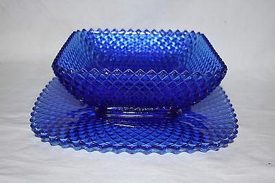 Vintage Miss America Hocking Cobalt Blue Glass Serving Bowl w/ underliner Plate