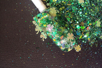 Shamrock Nail Art (glitter mix acrylic gel nail art  SHAMROCK MY WORLD   St. Patrick's Day  )