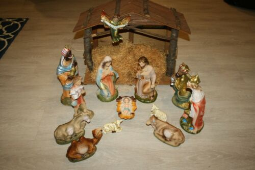 Antique Vintage Papier Mache Composition Nativity Set w Creche 11 pc 9-13""