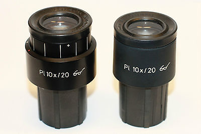 Pair Of Zeiss Pl 10x20 Microscope Ocular Eyepiece 30mm Great Condition
