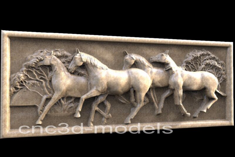 3D Model STL for CNC Router Engraver Carving Artcam Aspire Horse Decor Pano 056