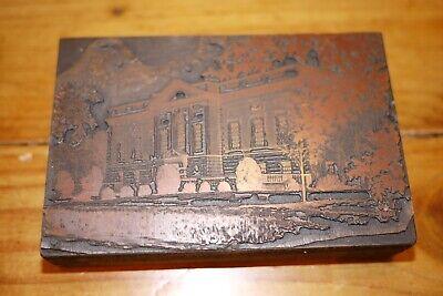 Vintage Printing Letterpress Printers Block Cut Town Library Or School 1920s
