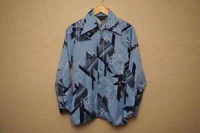 Vtg 70s Blu MR. JAN Mens SMALL Disco MOD Polyester SATURDAY NIGHT FEVER shirt  ()