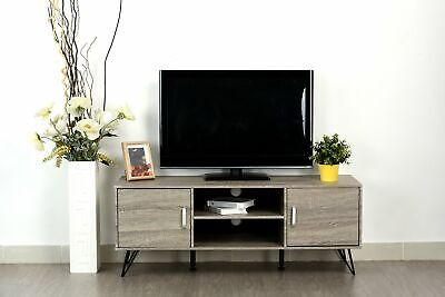 Tv Console Cabinet Finish - Weathered Grey Oak Finish TV Entertainment Center Console Cabinet Stand with ...
