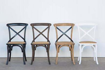 Nice Provincial Cross Back Chairs   Black, White, Natural And Dark Oak Part 25