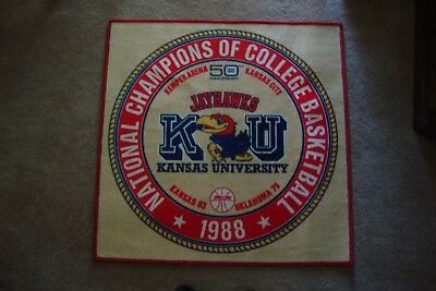 1988 Kansas Jayhawks Basketball - Vintage Kansas KU Jayhawks 1988 National Champions of College Basketball Rug