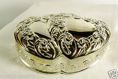 Silverplate Hinged Double Heart Engravable Trinket Box Keepsake Romantic Double Heart Keepsake Box