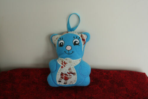 Blue+Teddy+Bear+wearing+Scarf+and+Hat+and+Hanging+Loop