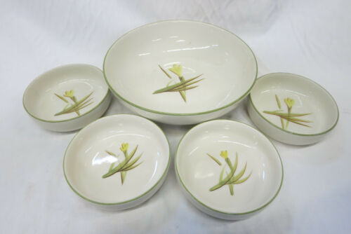 Winfield Ware Tiger Iris Bowls Set of 5 MCM California Pottery