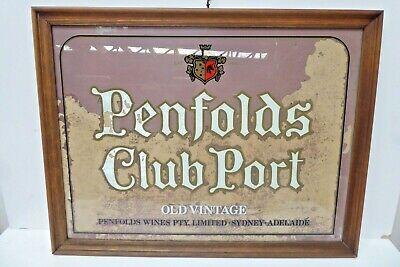 VINTAGE PENFOLDS WINE CLUB PORT PAINTED GLASS ADVERTISING HOTEL PUB SIGN FRAMED