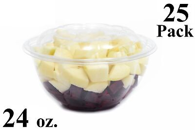 25 24 oz. Clear Plastic Salad Bowls with Airtight Lids BPA Free Food Containers