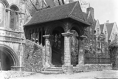 1910s CANTERBURY CATHEDRAL Norman Stairway Antique Photographic Glass Negative