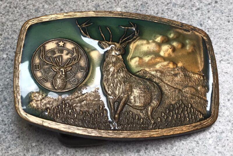 Vintage 1981 Harry Klitzner BPOE Protective Order Elks Lodge Brass Belt Buckle