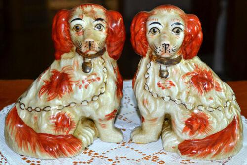 "VINTAGE ANTIQUE ORIENTAL PAIR OF RED SPANIEL MANTLE 5.25"" DOG FIGURE, FIGURINE"