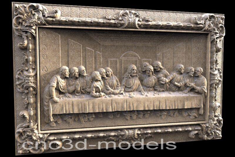 3D Model STL for CNC Router Engraver Carving Artcam Aspire Last Supper Pano 050