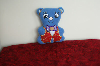 Teddy Bear in Royal Blue Fleece with a Cotton Waistcoat and Bowtie (Bow Tie With A Vest)