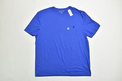 Men's Nautica Tee Shirt Regular 3XL Short Sleeve  Solid Blue Cotton Casual Tee S