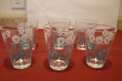 Set of 6 Vintage Hazel Atlas Turquoise Colonial Rooster Pattern Drinking Glasses