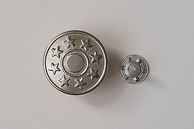20 Metallknöpfe / Patentknöpfe 17mm silber Jeansknöpfe