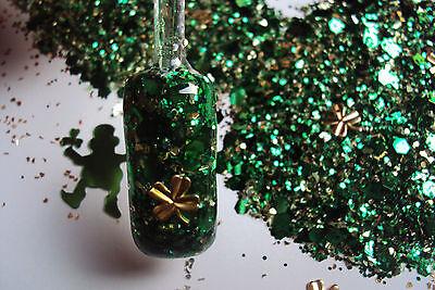 glitter mix acrylic gel nail art LUCKY CHARM  St. Patrick's gold tone shamrocks  - Glitter Shamrocks
