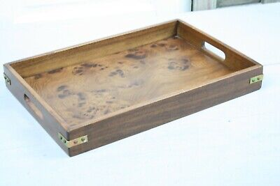 Vintage Wood Tray Brass Strap Corners Bluff City Furniture Co Faux Burled Wood