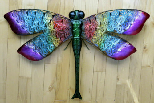 Metal Dragonfly Wall Hanging Decor Plaque Garden Fence  Dragonflies 25 x 15 in.