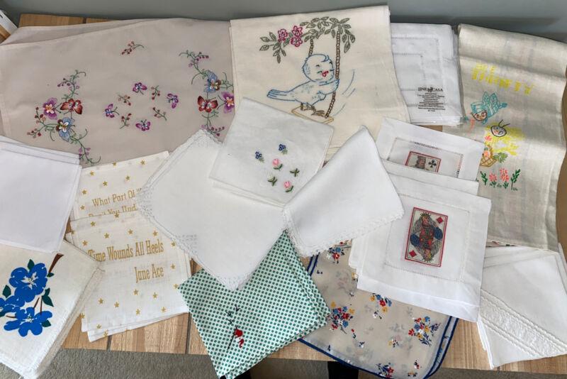 Vintage Linens Large MIXED Lot 50+ Cloth Cocktail Napkins, Dish Towel, Placemats