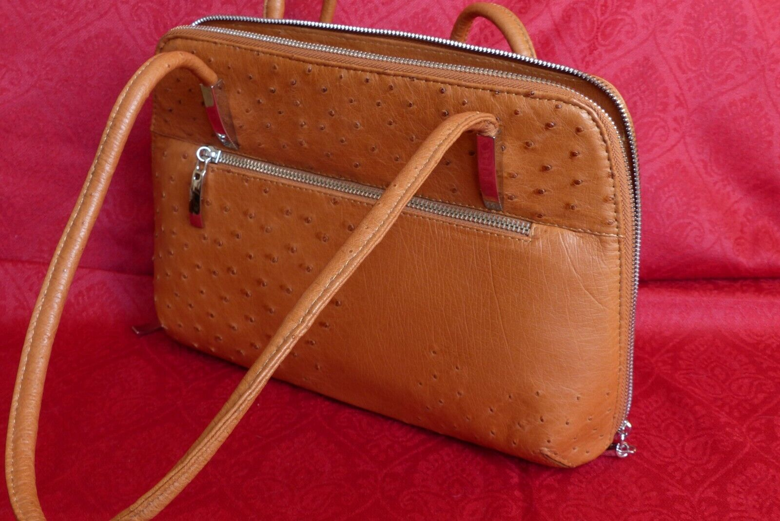 Sac a main en cuir d'autruche gold façon hermes made in south africa