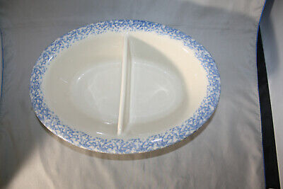 Roseville Workshops of Gerald E. Henn Spongeware Blue  Divided Veggie
