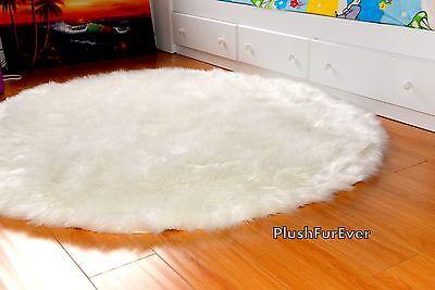 5' Round Premium White Faux Fur Area Rug Sheepskin Round Nursery Rugs
