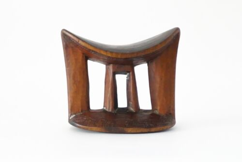 Old Ethiopian Wooden Headrest Neck Rest African Tribal Carved Wood Collectible