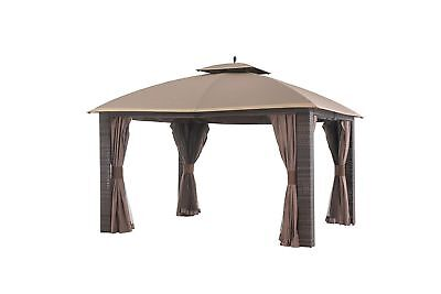 Sunjoy Wicker Gazebo Steel Frame 12 x 10 Brown Gold Trim Outdoor Garden Patio