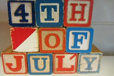 Vintage ABC Alphabet Blocks - 4th of July Rustic Home Decor Red Blue
