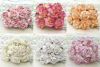 10 Papel De Morera Grande 40mm Rosa Salvaje Flores Con Alambre Tallos -  - ebay.es