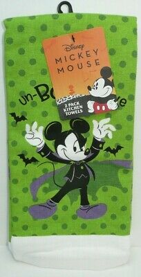 Disney Dracula Mickey Mouse Kitchen Dish Towel Set Halloween 2 Pack Vampire Bat