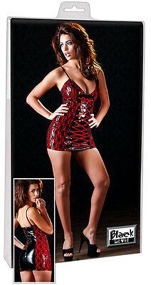 Spitzen-Lackkleid rot-schwarzes Kleid Spitze Black Level vinyl dress S L XL online kaufen