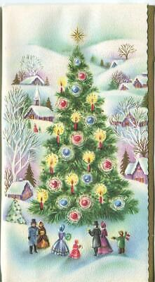 VINTAGE CHRISTMAS TREE PURPLE HOUSES VILLAGE SNOW MID CENTURY ART GREETING CARD