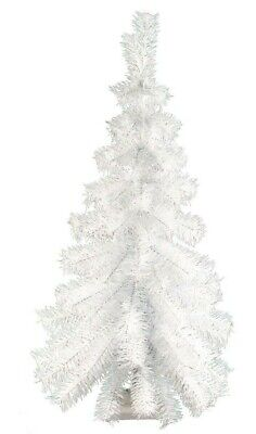 3FT White Hanging Wall Christmas Tree Classic White Tinsel Tree Lays Flat - 36''