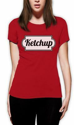 Ketchup T-Shirt For Halloween Easy Costume Women Funny Food Tee S M L XL