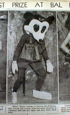 Walt Disney Characters Costumes (1933 newspaper with photo of earliest Walt Disney MICKEY MOUSE CHARACTER)