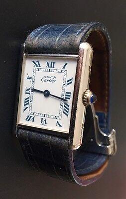 Vintage Must De Cartier Sterling 925 Watch Tank Quartz Swiss