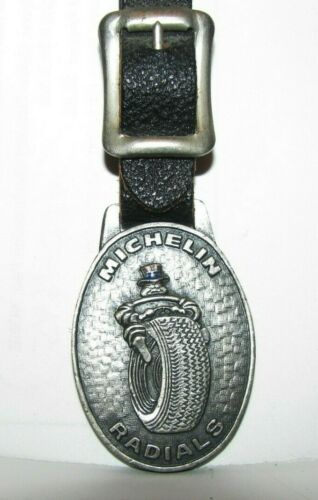 RARE Michelin Radial Tires Pocket Watch Fob Petterson Safety Service 1976 IL