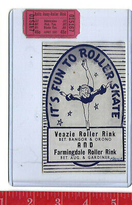 vintage lot roller rink decal Veazie and Farmington Maine & ticket