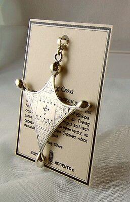"Large Men's African Solid 925 Silver Tuareg Cross 23 Grams Pendant 3.25"" H"
