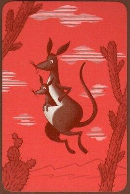 Playing Cards 1 Single Swap Card - Vintage Jumping ** KANGAROO + JOEY ** 2