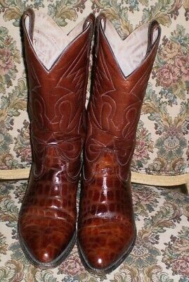 Vintage LONE STAR Lizard brown  Western Cowboy Boots Men's Size US 8 made in USA Black Lizard Cowboy Boots
