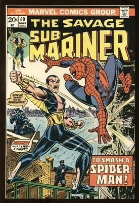SUB-MARINER (1968) #69 9.0 VF/NM / SPIDER-MAN BATTLE ISSUE