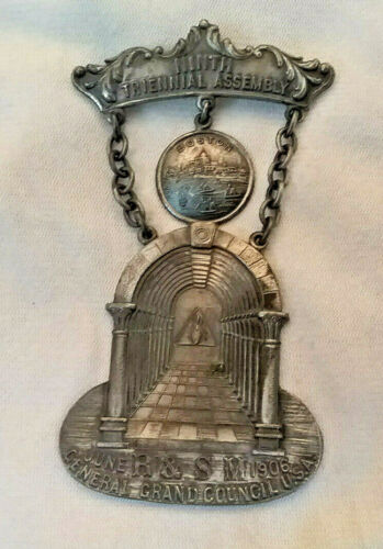 Antique June 1906 General Grand Council USA Medal Boston, MA-3 Inches long
